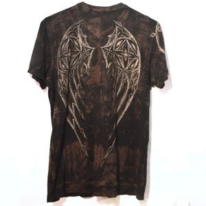 AFFLICTION XL Angel Wings Short Sleeve Shirt Black